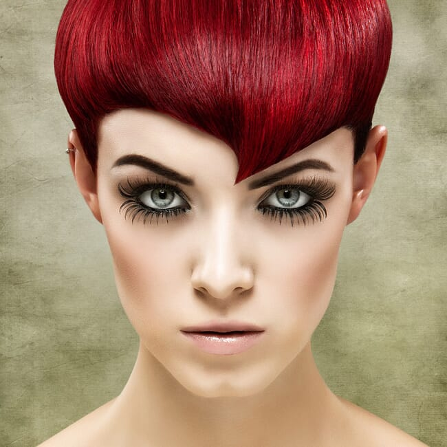 Avant Garde Bright Red Short Hairstyle Portrait by Norton Photography and Retouching